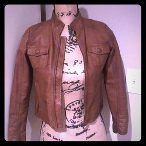 Girls faux brown leather jacket! A Fall staple!🍁